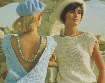 Womens Cross Over Back Top PDF Knitting Pattern : Ladies 30, 32, 34, 36, 38 and 40 inch bust . Summer . Jumper . Sweater . Digital Download