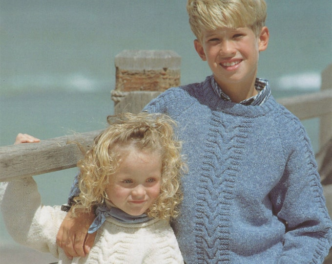 Childrens Sweater Knitting Pattern PDF Boys or Girls 22, 24, 26, 28 and 30 inch chest, Patterned Jumper, Knitting Patterns for Children