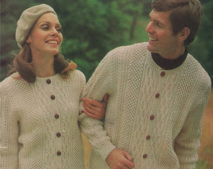 Cardigan Knitting Pattern PDF Aran Style, Womens and Mens 36, 38, 40, 42, 44 and 46 inch chest, DK Yarn, Vintage Knitting Patterns, Download