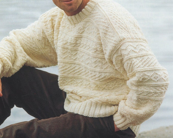 Mens and Boys Aran Sweater Knitting Pattern PDF 26, 28 - 30, 32 - 34, 36, 38 - 40, 42 - 44 and 46 - 48 inch chest, Aran Jumper, pdf Download