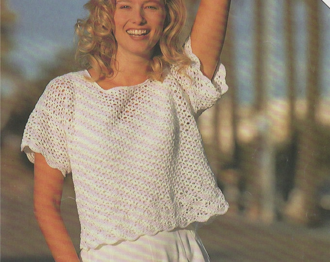 Womens Top Crochet Pattern PDF Ladies 30 - 32, 34 - 36, 38 - 40 and 42 - 44 inch bust, Short Sleeved, Summer Crochet Patterns for Women