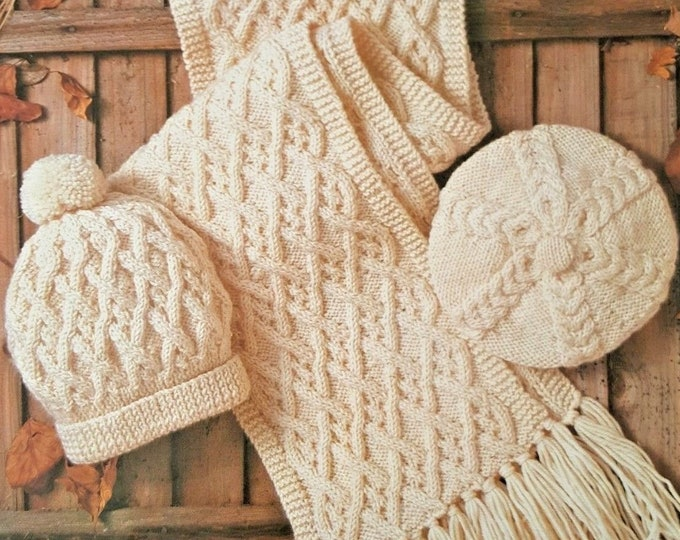Aran Hat, Beret and Scarf Knitting Pattern PDF for Ladies, Mens and Childrens Boys or Girls 4 - 7 and 8 - 12 years, Patterned, pdf Download