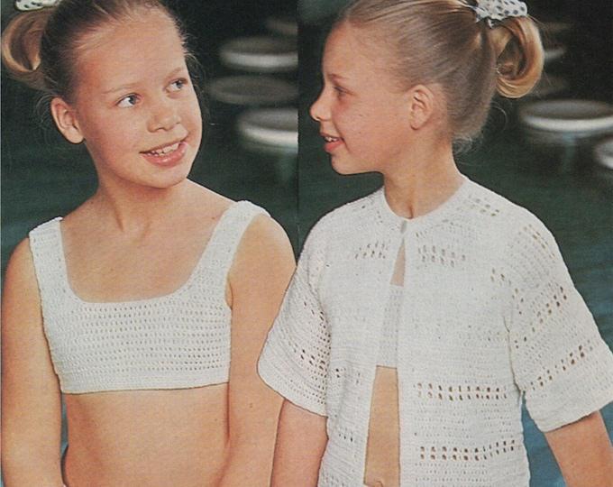 Girls Bikini and Cover Up Crochet Pattern PDF Swimwear, Beachwear, Girls 24, 26, 28 & 30 inch chest, Vintage Crochet Patterns for Children