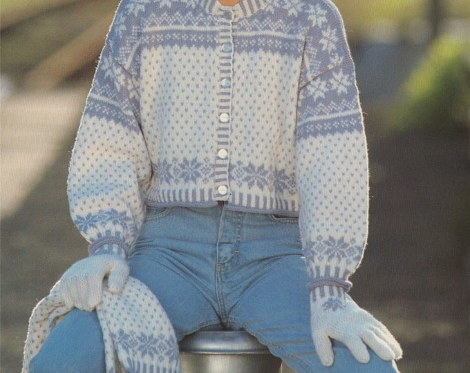 Womens Fair Isle Snowflake Cardigan, Scarf and Gloves Knitting Pattern PDF Ladies 30, 32, 34, 36, 38 and 40 inch chest, Christmas Cardigan