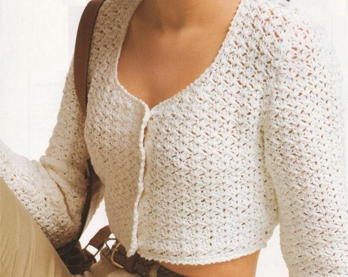 Womens Cardigan Crochet Pattern PDF Ladies 28 - 30, 32 - 34 and 36 - 38 inch bust, Summer Cardigan, Vintage Crochet Patterns for Women