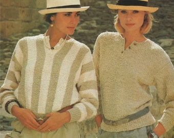 Womens Sweater PDF Knitting Pattern : Ladies 34 - 36 inch chest . 86 - 91 cm bust . Jumper . Instant Digital Download