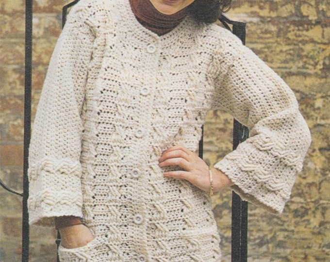 Womens Jacket with Pockets Crochet Pattern PDF Ladies 32 - 34, 36 - 38 and 40 - 42 inch bust, Long Cardigan, Chunky 12 ply Yarn, Download