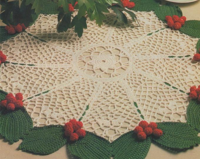 Holly Leaf Doily Crochet Pattern PDF Christmas Doily, X-mas Table Centre, Festive Decoration, Vintage Crochet Patterns for the Home