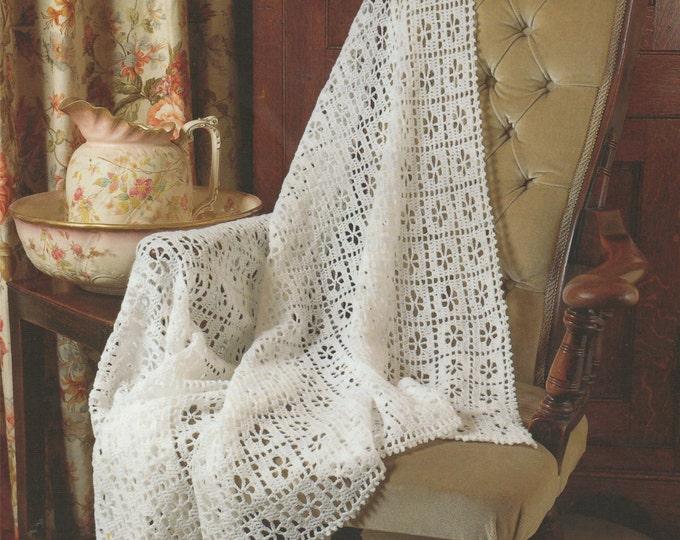 Baby Shawl Crochet Pattern PDF Newborn Babies Boys or Girls, Babys Blanket, Pram or Cot Cover, Vintage Crochet Patterns for Babies, Download