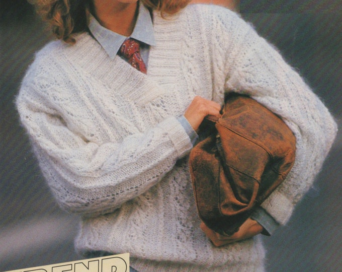Womens Sweater Knitting Pattern PDF Ladies 33 - 34 inch bust, Patterned Jumper, Vintage Knitting Patterns for Women, epattern Download