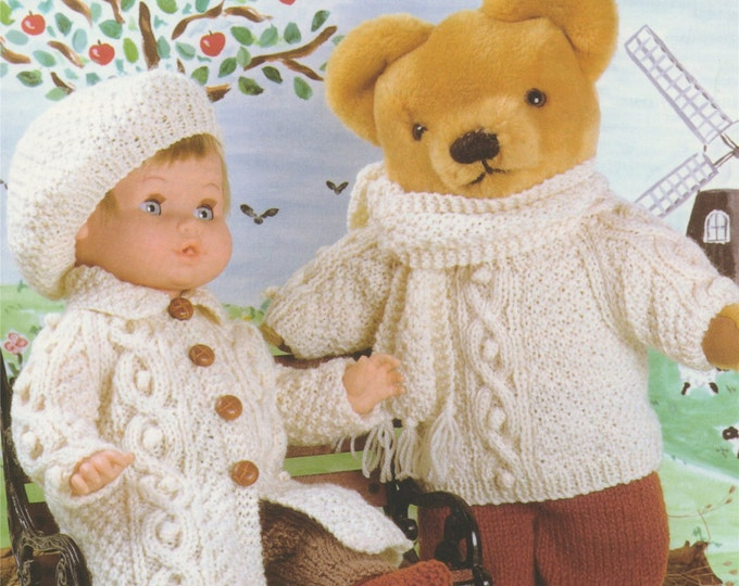 Dolls and Teddy Bears Clothes Knitting Pattern PDF for 12 - 14, 15 - 18, 19 - 22 inch high Doll or Teddy Bear, Aran Style, DK Yarn, Download