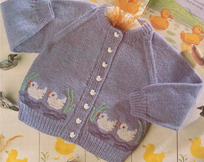 Baby Toddlers Cardigan Knitting Pattern PDF Duck Motif Boys or Girls 20, 22, 24 and 26 inch chest, Vintage Knitting Patterns for Children