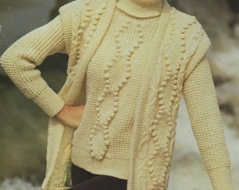Aran Waistcoat Gilet and Slipover Knitting Pattern PDF Childrens 26 10 ply Yarn 28 30 and 32 inch chest Vintage Aran Knit Patterns