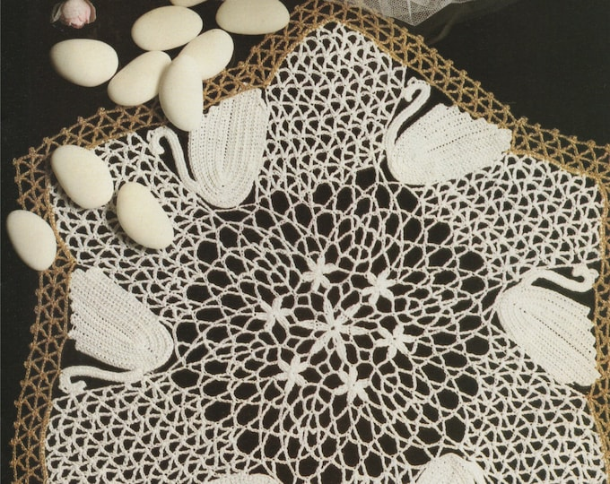 Swan Doily Crochet Pattern PDF Swans Doily Mat, Placemat, Table Mat, Vintage Crochet Patterns for the Home, e-pattern Download