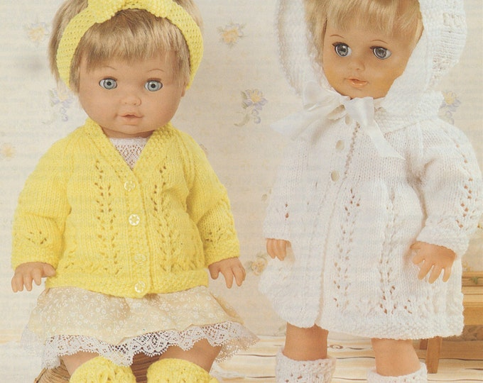 Dolls Clothes Knitting Pattern PDF for 12 - 14,  15 - 18 and 19 - 22 inch high Baby Doll, Tiny Tears Doll, Berenguer Dolls, Chou Chou Doll