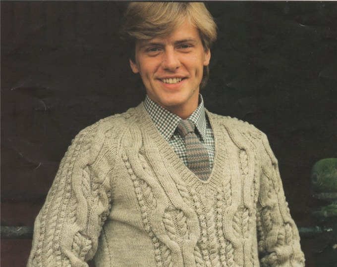Aran Cable Sweater Knitting Pattern PDF Mens 34, 36, 38, 40, 42, 44 and 46 inch chest, Cabled Jumper, Vintage Knitting Patterns for Men