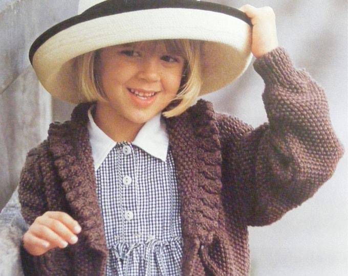 Girls Aran Cardigan Knitting Pattern PDF Childrens 24, 26, 28 and 30 inch chest, Vintage Aran Knitting Patterns for Children, pdf Download