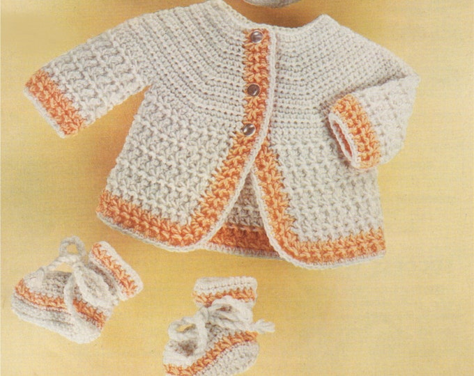 Babys Crochet Pattern Matinee Coat, Bonnet and Bootees PDF : Boys or Girls . Babies 18, 20 and 22 inch chest . Cardigan . e-pattern Download