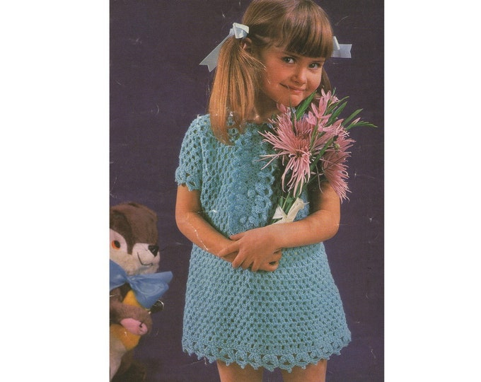 Girls Dress and Pants Crochet Pattern PDF 22, 24 and 26 inch chest, Girls Dress with Ruffle Button Front, Vintage Crochet Patterns for Girls