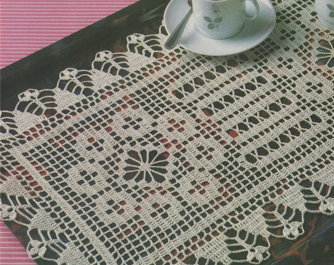 Tray Doily Crochet Pattern PDF Table Mat, Placemat, Rectangular Doily Mat, Table Runner, Vintage Crochet Patterns for the Home, Download