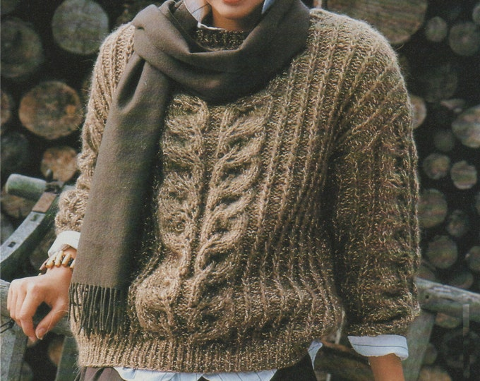 Womens Sweater Knitting Pattern PDF Ladies 36 - 38 inch bust, Patterned Jumper, Vintage Knitting Patterns for Women, epattern Download