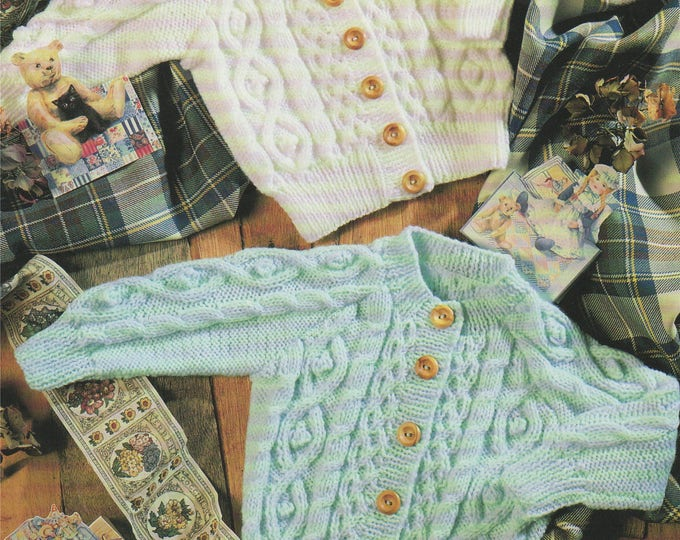 Childrens Cardigan Knitting Pattern PDF Babies and Toddlers Boys or Girls 18, 20, 22, 24 and 26 inch chest, Round and V Neck, PDF Download