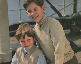 Boys Fair Isle Sweater and Pullover PDF Knitting Pattern : Boy 26, 28 and 30 inch chest . 66, 71 and 76 cm chest . Jumper . Digital Download