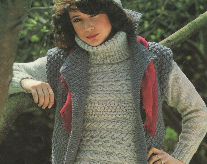 Womens Sweater (DK) and Gilet (Chunky) Knitting Pattern PDF Ladies 32, 34, 36, 38 and 40 inch chest, Patterned Jumper and Bodywarmer