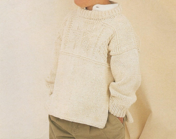 Childrens Aran Tunic Sweater Knitting Pattern PDF Boys or Girls 22, 24, 26, 28 and 30 inch chest, Patterned Long Jumper, Download Patterns