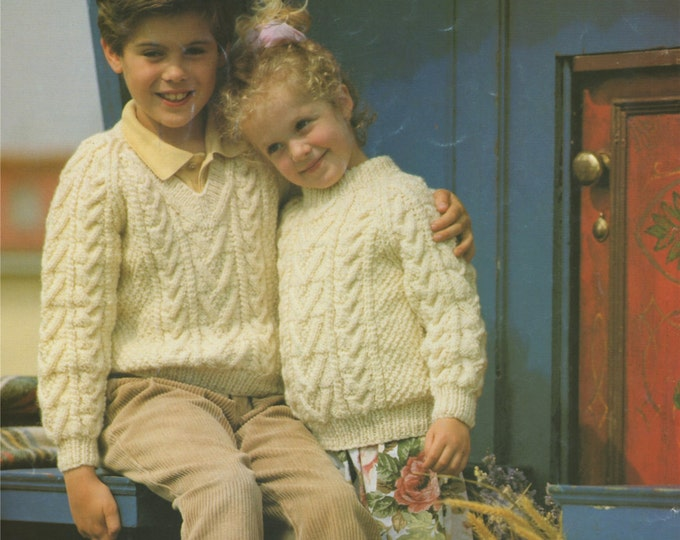 Childrens Aran Sweater Knitting Pattern PDF Boys or Girls 20, 22, 24, 26, 28 and 30 inch chest, Round or V Neck Jumper, e-pattern Download