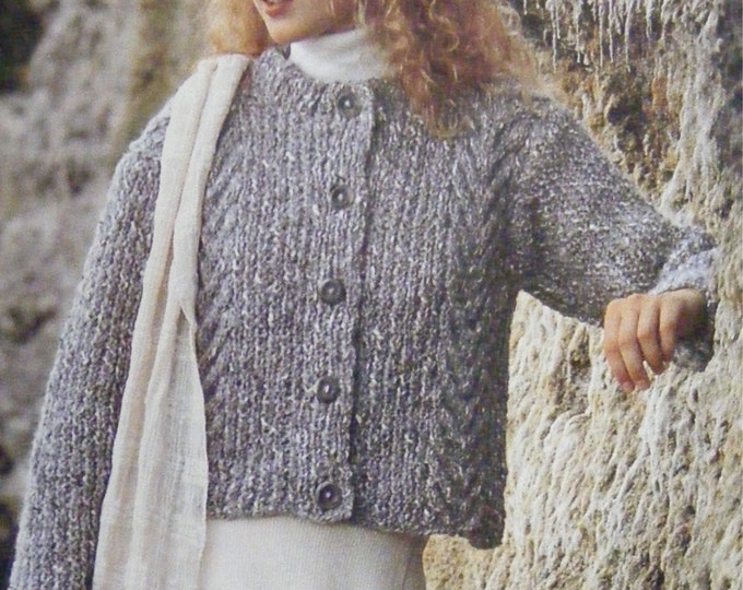 Womens Cardigan Knitting Pattern PDF Ladies 32, 34, 36, 38, 40, 42 and 44 inch bust, Jacket, Vintage Knitting Patterns for Women, Download