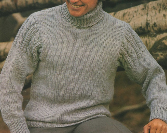 Mens Sweater Knitting Pattern PDF with Cable stitch detail, Mans 36, 38, 40, 42 & 44 inch chest, Vintage Knitting Patterns for Men, Download