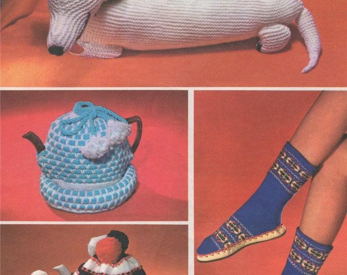 PJ Dog Case, Egg Cosy, Tea Cosies and Slippers Knitting Pattern PDF 2 Designs of Tea Cosy, Fair Isle Slipper Socks, Pyjama Case, Download