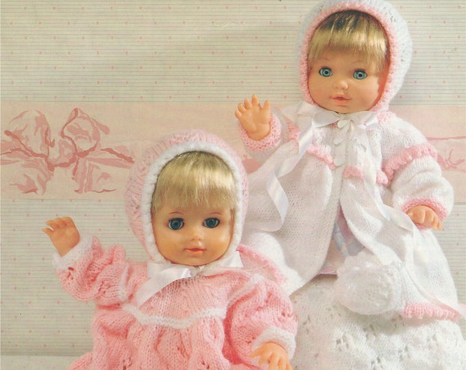 Dolls Clothes Knitting Pattern PDF for 12 - 14, 15 - 18 and 19 - 22 inch Doll, Dolls Outfit Pattern, Vintage Knitting Patterns for Dolls