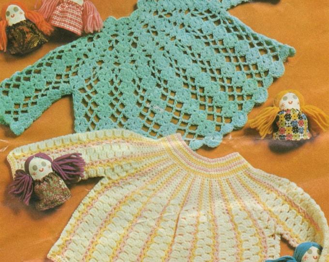 Baby Girls Angel Top Crochet Pattern PDF in 2 Designs, Babies 19 - 20 inch chest, Short Angel Dress, Vintage Crochet Patterns for Babies