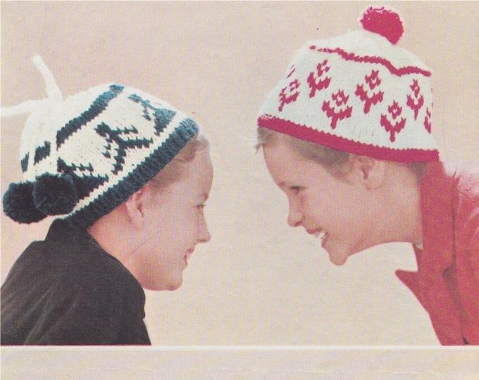 Childrens Hat Knitting Pattern PDF in 4 Designs, Girls or Boys Winter Hats, Vintage Knitting Patterns for Children