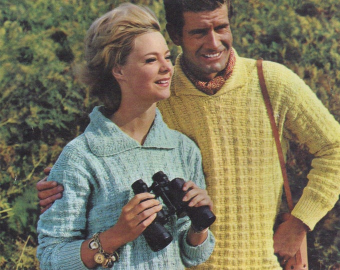 Sweater Knitting Pattern PDF Womens and Mens 34 - 36 and 40 - 42 inch chest, Patterned Jumper, Vintage Knitting Patterns, e-pattern Download