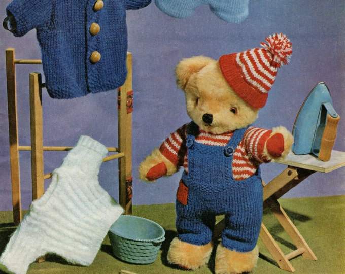 Teddy Bear Clothes Knitting Pattern PDF for 12 inch Teddy Bears, Teddy Outfit Pattern, Dungarees, Jacket, Jumpers, Hat and Shorts, Download