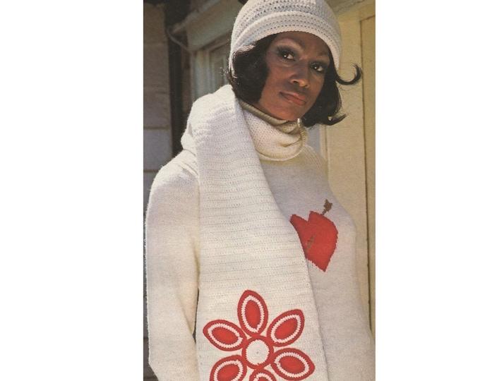 Womens Hat and Scarf Crochet Pattern PDF Ladies Winter Accessories, Vintage Crochet Patterns for Women, epattern Download