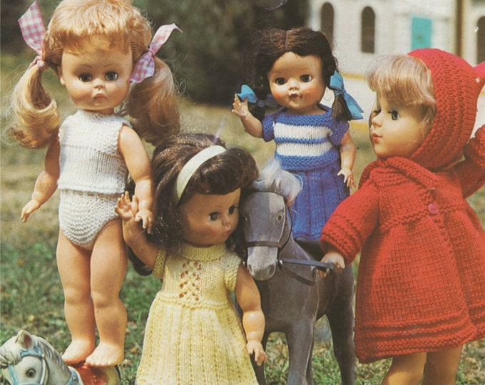 Dolls Clothes Knitting Pattern PDF for 10, 12, 14 and 16 inch Doll, Dolls Outfit Pattern, Vintage Knitting Patterns for dolls, pdf Download