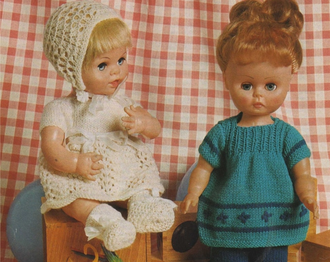 Dolls Clothes Knitting Pattern PDF for 14 inch Doll and 12 inch Baby Doll, Dolls Outfit, Vintage Knitting Patterns for Dolls, Download
