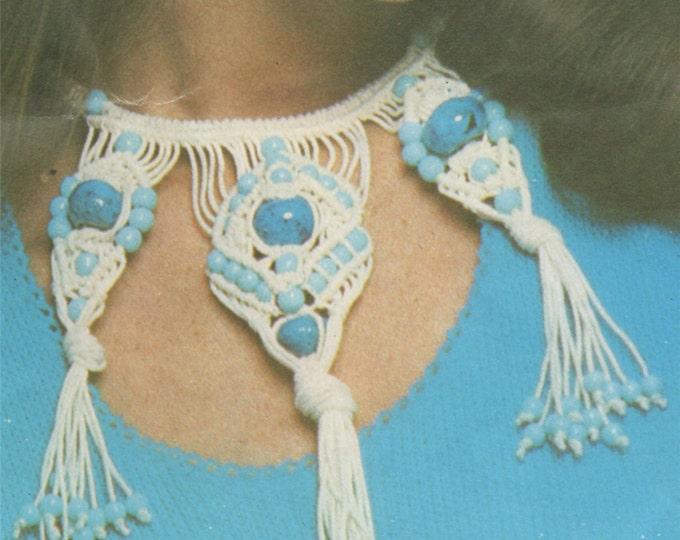 Womens Necklace Macrame Pattern PDF, Choker, Beadwork, Beaded Necklace, Accessories, Vintage Macrame Patterns for Women, e-pattern Download