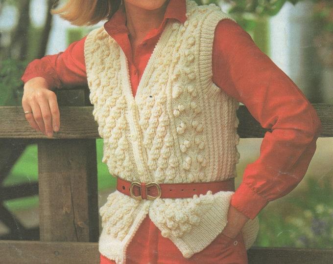 Womens Aran Waistcoat Knitting Pattern PDF Ladies 30, 32, 34, 36 and 38 inch bust, Gilet, Bodywarmer, Vintage Knitting Patterns for Women