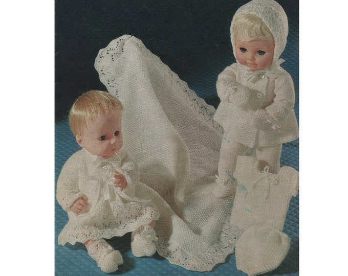 Dolls Clothes Knitting Pattern PDF for 14 & 16 inch doll, Dolls Layette, Tiny Tears, Babyborn, Vintage Knitting Patterns for Dolls, Download
