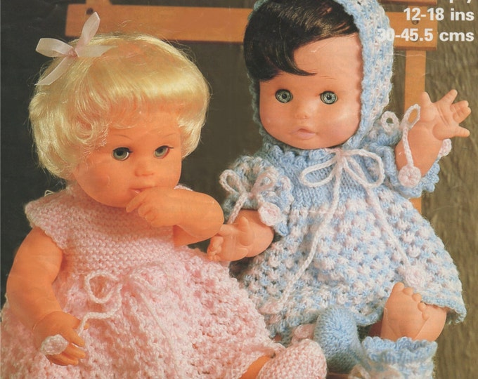 Dolls Clothes Knitting Pattern PDF for 12, 14, 16 and 18 inch Doll, Babyborn Doll, Tiny Tears Doll, Baby Annabell Doll, e-pattern Download