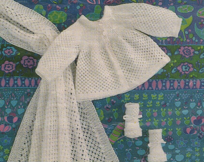 Babies Shawl, Matinee Coat and Bootees Knitting Pattern PDF Baby Girls 17, 18 and 19 inch chest, Vintage Knitting Patterns for Babies