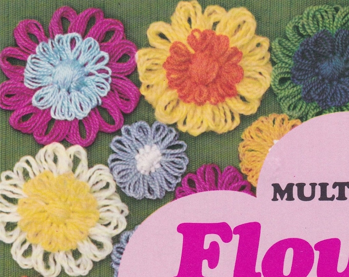 Vintage Round Flower Loom Instructions Leaflet PDF Flower Power Decorations for Crochet and Crafts, Hippie Style from the 60's and 70's