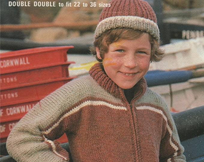 Zip Jacket and Beanie Hat Knitting Pattern PDF Boys 22, 24, 26, 28, 30, 32, 34 and 36 inch chest, Vintage Knitting Patterns for Children