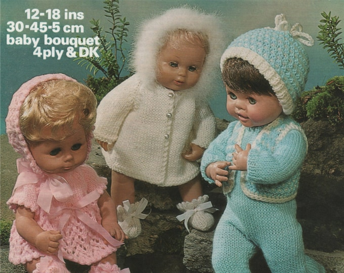 Dolls Clothes Knitting Pattern PDF for 12, 14, 16 and 18 inch Baby Doll, Dolls Outfit Knitting Pattern, Vintage Knitting Patterns for Dolls