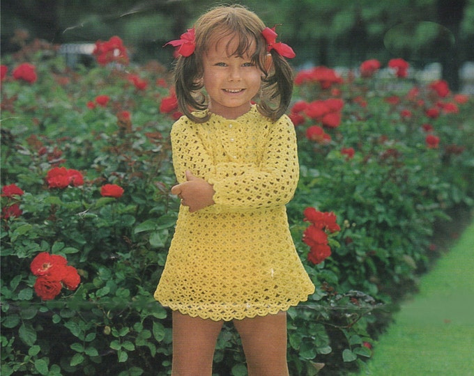 Girls Dress Crochet Pattern PDF Toddlers 20, 22, 24 and 26 inch chest, Vintage Crochet Patterns for Children, e-pattern Download